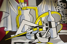 Roy Lichtenstein Poster of Still Life Table Brushes Paints Unsigned 33X27