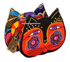 Laurel Burch Cat Red Black Feline Face Coin Purse Lobster Claw Clasp NEW