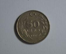 Münze Türkei Turkiye Turkey 50 LIRA 1987 Cumhuriyeti TOP! (E1)