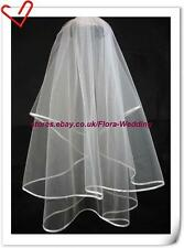SALE 2-Tier DESIGNER BRIDAL WEDDING VEIL,SATIN EDGE,32""