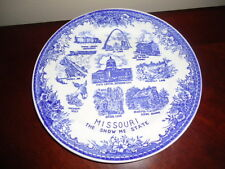 """Vintage Missouri Blue and White Souvenir Plate The Show Me State 9.25"""""""