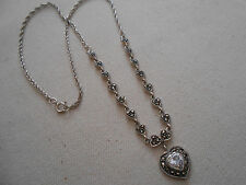 Vtg Sterling Silver Marcasite Heart  Pendant Necklace  299212