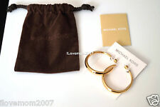AUTHENTIC MICHAEL KORS GOLD TONE MK OPEN WIDE HOOP EARRINGS + POUCH SEE PICTURE