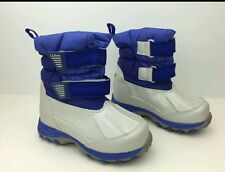 LL bean unisex size 4 blue and grey insulated, velcro winter snowboots.