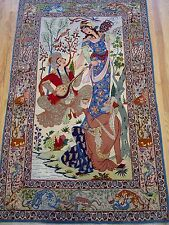 "3'5"" x 5'9"" Persian Isphahan Pictorial Hand Knotted Wool / Silk Oriental Rug"