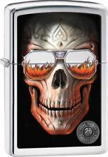 Zippo 29108, Anne Stokes-Skull With Sunglasses, High Polish Chrome Lighter