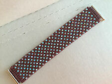 Beaded Cuff Bracelet w/Swarovski Crystals - Red-ish