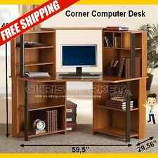 Computer Student Corner Desk Workstation Furniture Bedroom Office Cherry Black