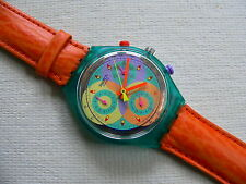 1993 Swatch Watch Chronograph Sound Orange leather band Never worn