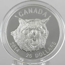 Canada 2014 $25 Canada Lynx, 99.99% Pure Silver Ultra-High Relief Proof Coin