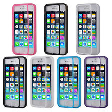 Soft TPU Silicone Back + Front Touch Screen Protector Case Cover For iphone 5 5S