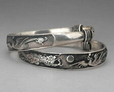 Hot! 2 Rare Tibet silver carved DRAGON men's bracelet bangle