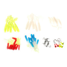 35Pcs Soft Worm Fishing Baits + 10 Lead Jig Head Hooks Fishing Lures