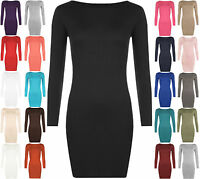 WOMENS BODYCON DRESS SHORT MINI TOP LONG SLEEVE LADIES 8-26 SRETCH JERSEY TUNIC