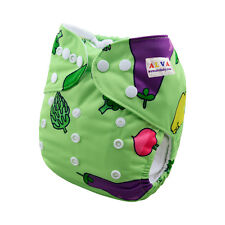 AlvaBaby Greens Style Onesize Washable Reusable Cloth Diaper Nappy+1Insert H057