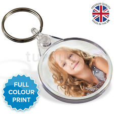 Personalised Round Custom Photo Gift Keyrings Circle Key Fobs 38 mm