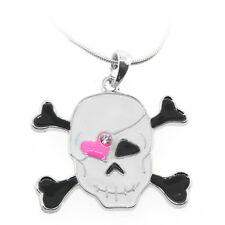 "Black and White Color Pirate and Skull Shape Pendant with Crystal and 16"" Chain"