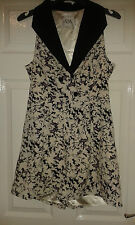 Womens Sleeveless Playsuit - Holly Willoughby - White - Black Horses - Size 10