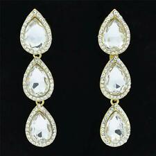 Dangle 3 Tear Drop Earrings for Wedding Prom w/ Clear Rhinestone Crystals 223625