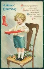 Little Boy Christmas Greetings Clapsaddle Relief postcard cartolina QT5908