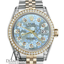 Woman's Rolex 26mm Datejust 2 Tone Glossy Ice Blue Flower Dial with Diamond