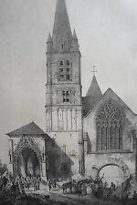 ABBAYE de MONTIVILLIERS coté occident LITHOGRAPHIE originale ENGELMANN XIXéme