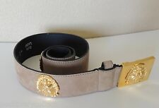 Estate Genuine Suede Leather Echt Leder Gold Lion Head Belt SZ 75/30 M Spain