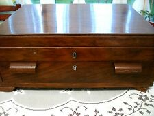 Beautiful Genuine Antique Large Polished Wood Box with Drawer, Mappin and Webb +