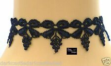 Gothic Black Bow Guipire Lace Adjustable Choker Necklace Steampunk Loloita Party