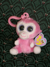 "Ty Beanie Boo 3"" clip RAZBERRY (PINK  MONKEY)   Mint/Mint tag * RARE * Retired"