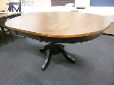 New Black & Walnut Round Pedestal Extending Dining Table *Furniture Store*