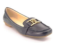 New RALPH LAUREN Women Navy Leather Moc Toe Loafer Dress Flat Shoe Sz 7 M