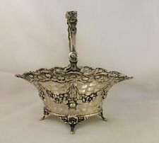 Hanau Sterling 800 Pierced & Floral Basket with Glass Liner - 6 1/2""