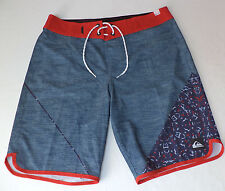 NWT Quiksilver Blue & Red Tie Front Board Shorts   32x20   L582