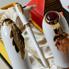PICASSO 986 WHITE AND GOLDEN FINE HOODED NIB FOUNTAIN PEN LEAF