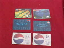 6 RARE VINTAGE PESPI,PACIFIC BELL,PAYLESS PRE PAID CALLING MINUTE PHONE CARD