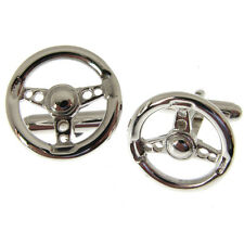 STEERING WHEEL SILVER CUFFLINKS. FULLY HALLMARKED CUFFLINKS MADE IN ENGLAND