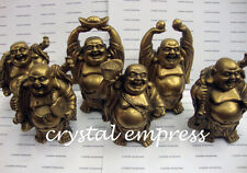 Feng Shui - Set of 6 Brass Laughing Buddha for Wealth & Prosperity