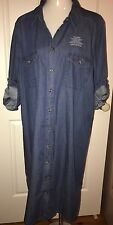 Brand New Size 20  Blue Denim Jean Shirt Dress 100% Cotton