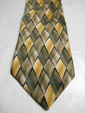 George Machado Brown Black and Blue Check Print Silk Necktie