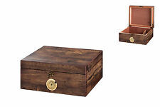 ANTIC WOOD STYLE CIGAR HUMIDOR w./ HYGROMETER & HUMIDIFIER * NEW *