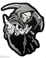 "GRIM REAPER (GREY) BACK PATCH 26CM x 35CM (10 1/4"" x 13 3/4"") Sew on"
