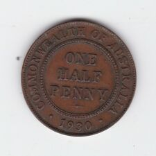 1930 Half Penny Halfpenny Coin Commonwealth Australia shows 6 pearls E-456