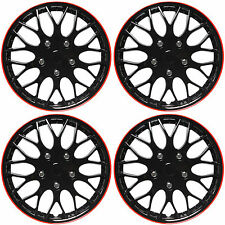 "SET 4 Piece Hub Caps ICE BLACK / RED TRIM 14"" Inch Rim Wheel Covers Cap Cover"