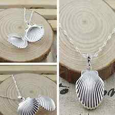 925sterling solid Silver Photo Shell Locket Pendant Water Wave Chain Necklace