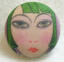 """1920s Paris Flapper Girl  Button Hand Printed Fabric """"April""""  FREE US SHIPPING"""
