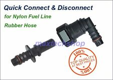 """3/8"""" 10mm-1/2"""" 12mm 90 Deg Fuel Line Quick Connect Release Disconnect Gas Elbow"""