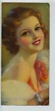 Vintage 1930's-40's Print Auburn Haired Glamour Gal Beauty w/ Rose & Red Lips