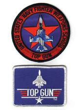 TOP GUN US Navy Fighter Weapons School Sew on Iron On PATCH SET 2 Pcs New