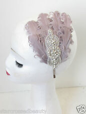 Grey & Silver Diamante Rhinestone Feather Headpiece Flapper 1920s Headband N75
